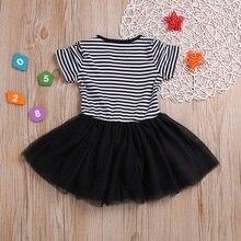 Summer Casual Baby Girls Striped Animal Pattern Short Sleeve Patchwork Mesh Dress Kids Girls Dress Kids Toddler Sundress 1