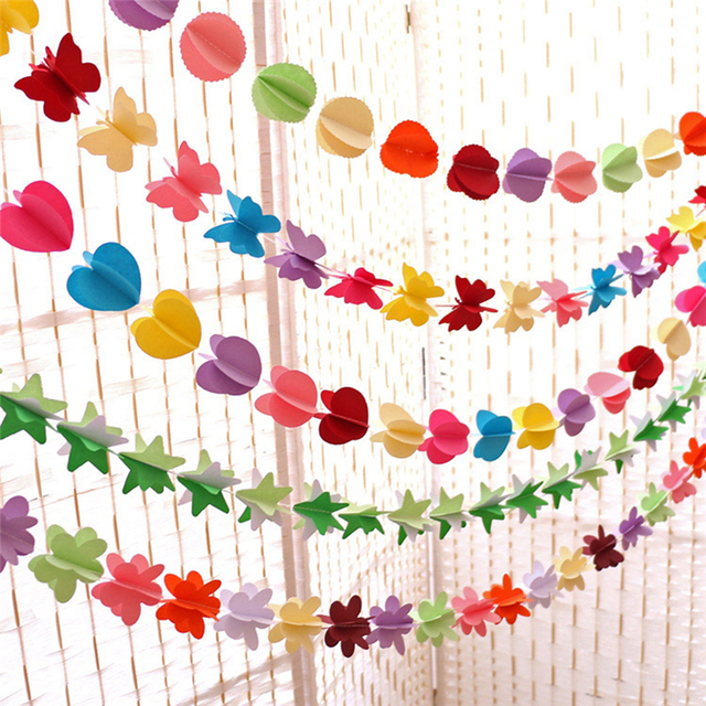 Colorful Paper Garland Valentineu0027s Day/Kids Birthday Party Flower Star  Banner Flag Wedding Hanging Pennants
