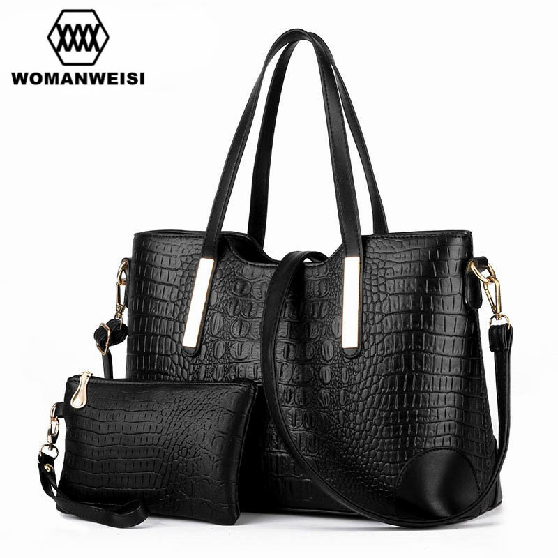 Quality Crocodile Grain Leather Women Cross-Body Bag Famous Brands Female Purses And Handbag Set Messenger Bags For Girl Kabelky цена