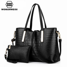 Quality Crocodile Grain Leather Women Cross-Body Bag Famous Brands Female Purses And Handbag Set Messenger Bags For Girl Kabelky