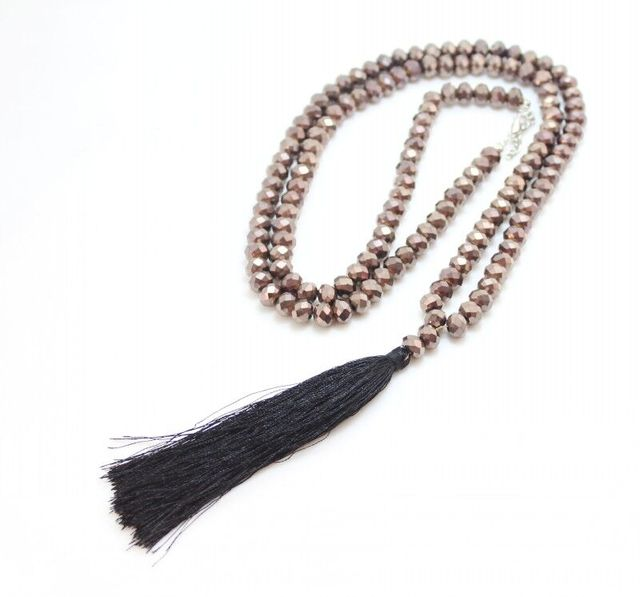 Well-liked Black crystal Beaded Tassel Pendant Long necklace For Women  AK25