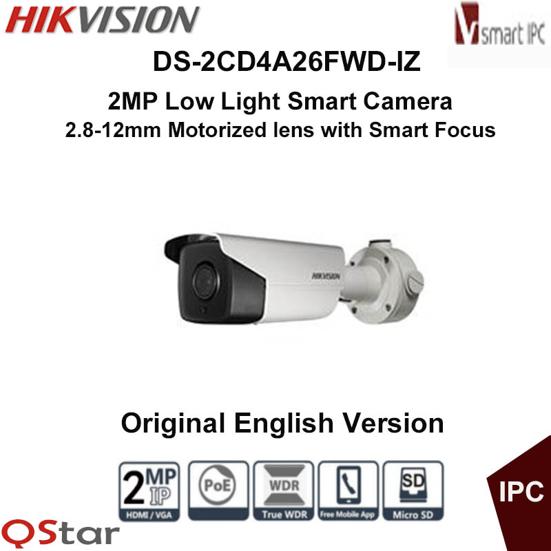 Hikvision Original DS-2CD4A26FWD-IZ(H)(S)(2.8-12mm) 2MP Low Light Smart  IP Camera 128G on-board storage POE CCTV Camera IP67