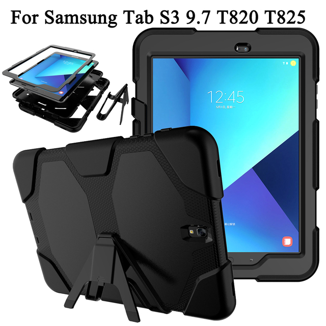 huge selection of fddcf 0f1e8 US $14.12 14% OFF|For Samsung Galaxy Tab S3 9.7 inch T820 T825 Tablet Case  Kids Hybrid Plastic+Silicon Heavy Duty Dual Layer Rugged Military Armor-in  ...