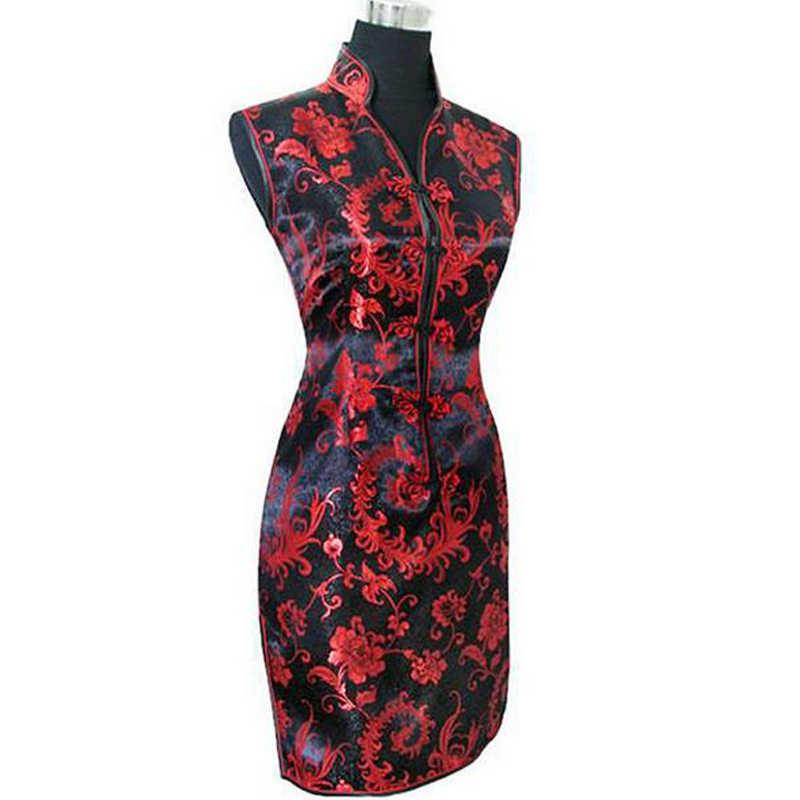 שחור אדום סיני נשים של משי Cheongsam סקסי מיני Qipao ערב מסיבת שמלת שמלת טוטם & פרח גודל S M L XL XXL XXXL S028-B