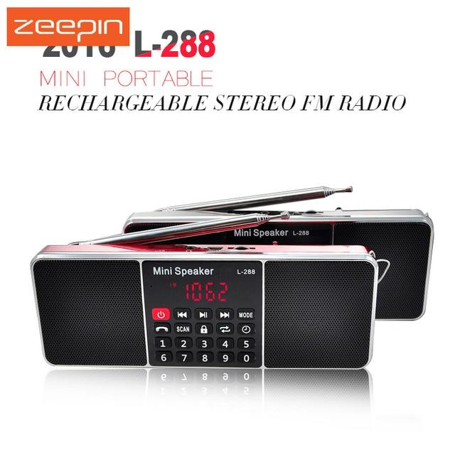 L-288 Mini portátil FM Radio altavoz estéreo reproductor de música con TFCard USB disco LCD Control de volumen altavoz recargable