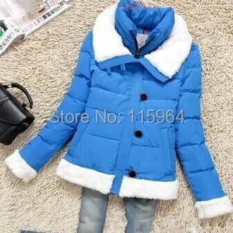 ФОТО 2015 new arrival jacket women short padded winter fur collar Slim thin solid coat