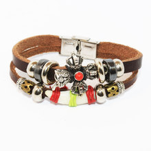 Vintage Jewelry Bangles Dog Tooth Charm Bracelet Punk Design Turkish Bracelets For Men Woman Multi-layer Woven Resin Imitation(China)