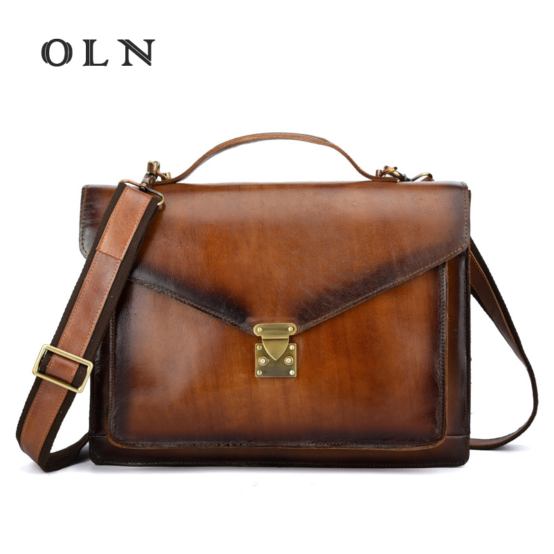 OLN Luxury 2018 High Quality Cowhide Men Briefcase Business Handbag Luxury Genuine Leather Messenger Shoulder CrossBody Tote Bag high quality men genuine leather messenger bag travel crossbody shoulder bags laptop tote handbag cowhide business briefcase new