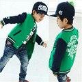 2016 nuevos llegados primavera / otoño del bebé chaquetas para niños ropa para niños prendas de vestir exteriores Babi béisbol de los muchachos traje 1 unids envío gratis