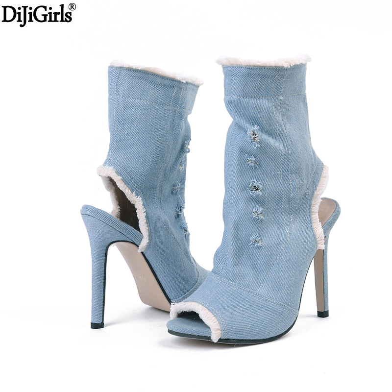 Women Stretch Ankle Boots Summer Peep Toe Slingback High Heel Boots fashion Elastic Sock Botas Short Booties Casual Denim Boots fashion kardashian ankle elastic sock boots chunky high heels stretch women autumn sexy booties pointed toe women pumps botas