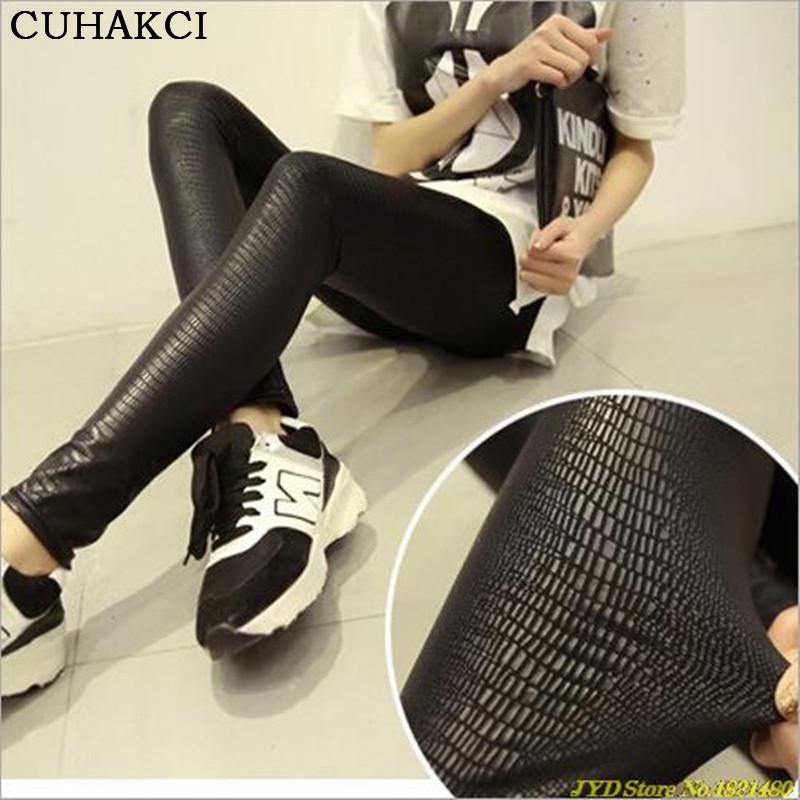 CUHAKCI Women PU Leather Leggings Snakeskin Pattern High Stretch Quality Skinny Black Punk Rock Leggings Matte Casual Legging
