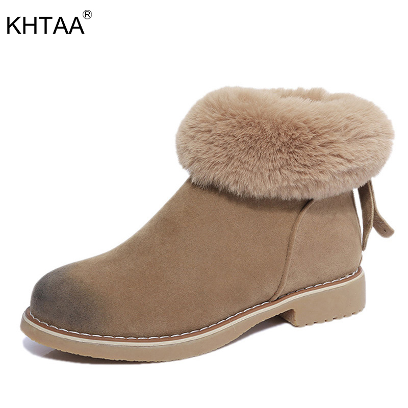 KHTAA 2017 Women Winter Zip Ankle Snow Boots Female Fashion Warm Plush Fur Platform Black High Quality Suede Thick Heel Shoes