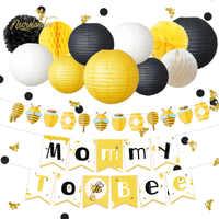 NICROLANDEE 35 pièces/ensemble mignon belle abeille miel bébé douche maman à abeille papier bannière guirlande lanterne nid d'abeille fête décoration bricolage