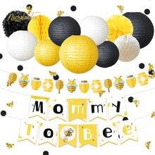 NICROLANDEE 35ชิ้น/เซ็ตน่ารักน่ารักHoneybee Baby Shower Mommy Beeกระดาษแบนเนอร์GarlandโคมไฟHoneycomb Partyตกแต่งDIY