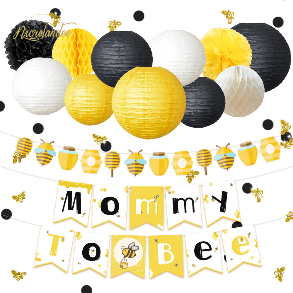 NICROLANDEE 35 pcs/set Cute Lovely Honeybee Baby Shower Mommy To Bee Paper Banner Garland Lantern Honeycomb Party Decoration DIY