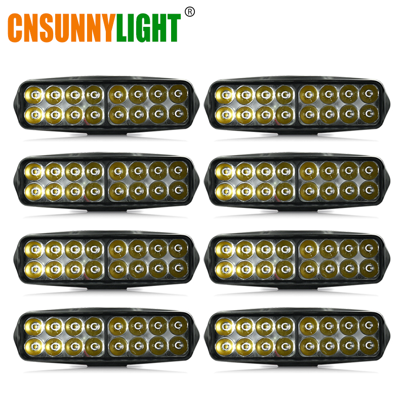 CNSUNNYLIGHT 8pcs 20W 7 inch LED Light Bar Work Lights for Driving Offroad Car Tractor Truck