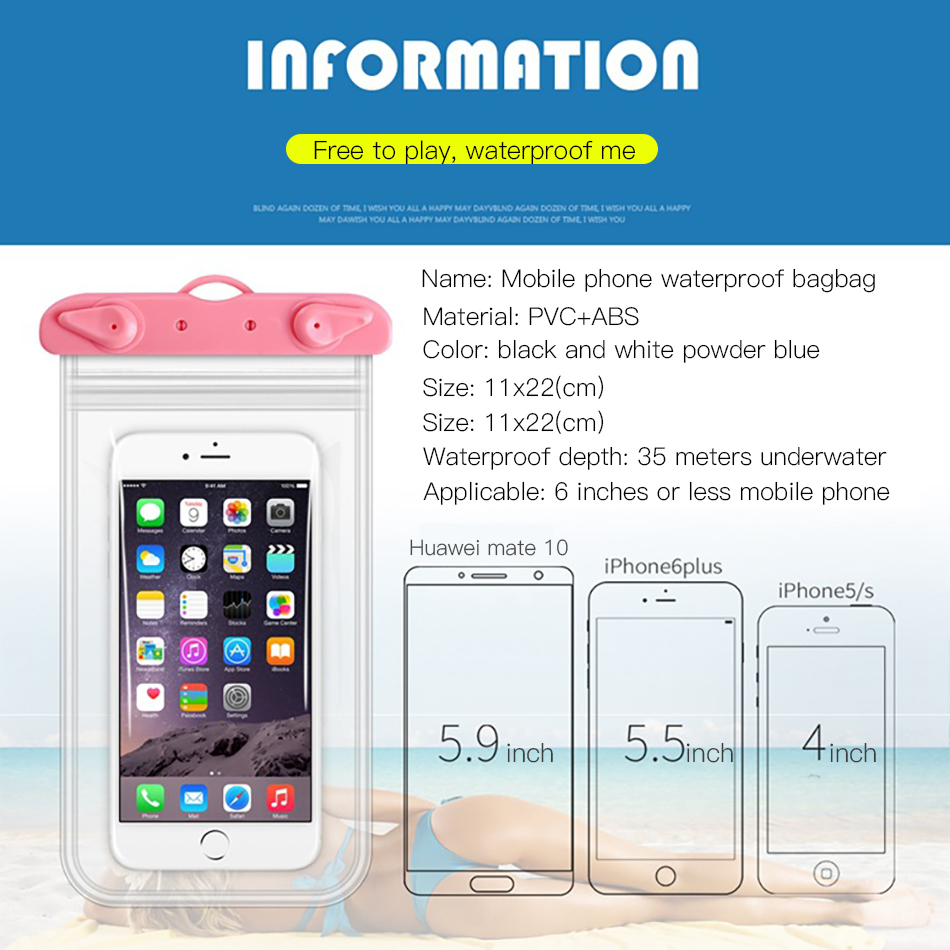 !ACCEZZ PVC Waterproof Bag 6 inches Pouch Phone Case For iPhone XS XR Xiaomi Huawei Samsung HTC Mobile Phone Swimming Cover Case (3)