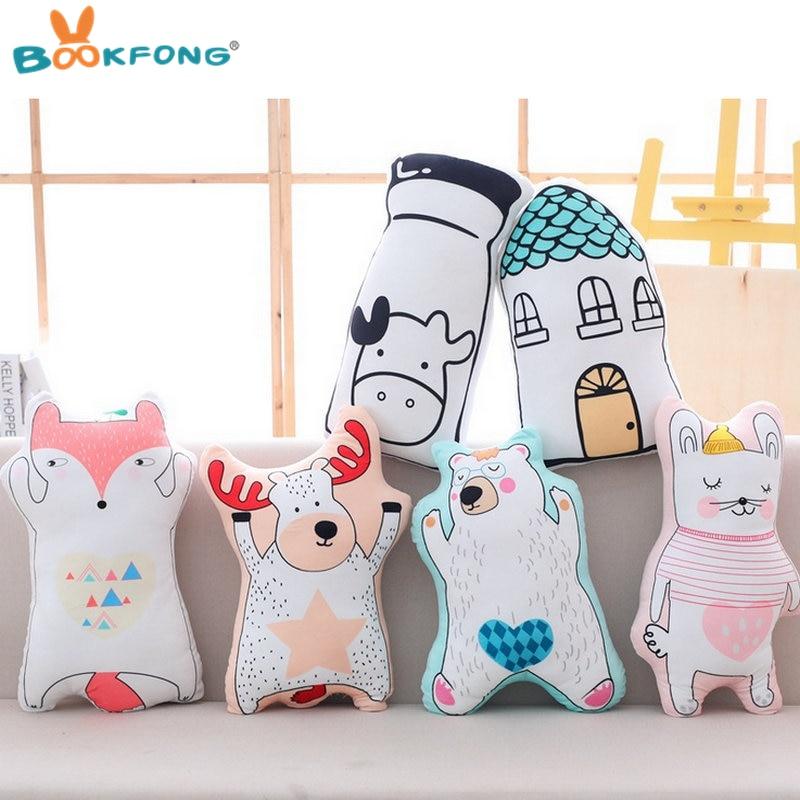 Cartoon animal plush toy soft stuffed bear house elk pillow cushion children gift home kids bed decoration