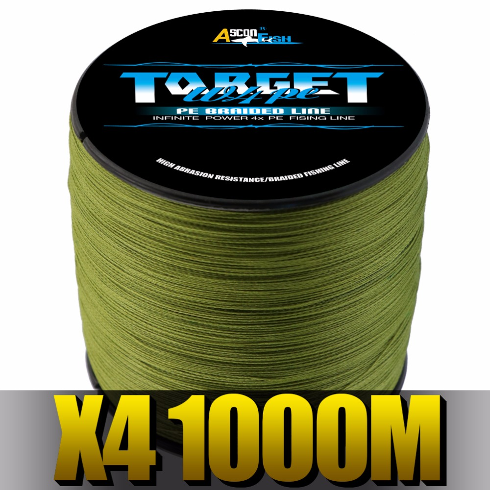 Ascon Fish 4 Strands Braided Fishing Line 1000m Multifilament Line Cord Fishing Carp 4 Braid Thread Tackle and Accessories