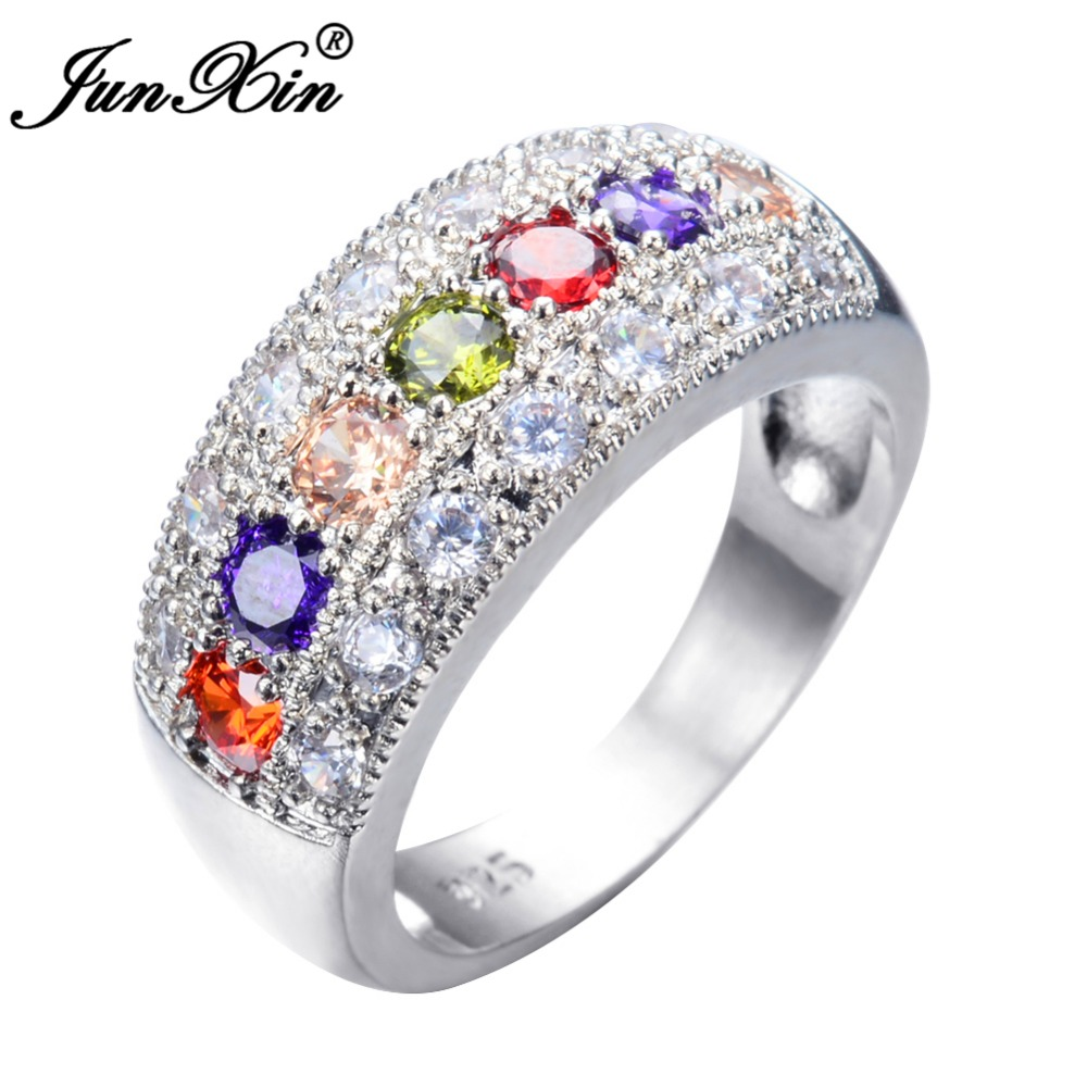 Junxin Bohemian Women Multi Color Round Ring With Aaa Zircon 2017 New  Fashion Jewelry Vintage Wedding