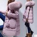 2016 de invierno abrigo de pieles medio-largo de down jacket women clothing engrosamiento femenina prendas de vestir exteriores floja de las mujeres parka