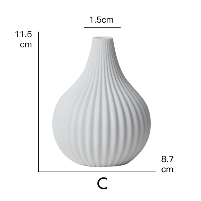 1pc White Ceramic Flower Vase Geometric Matt Vase Drop-shape Plants Hydroponic Container Home Garden Decoration 3