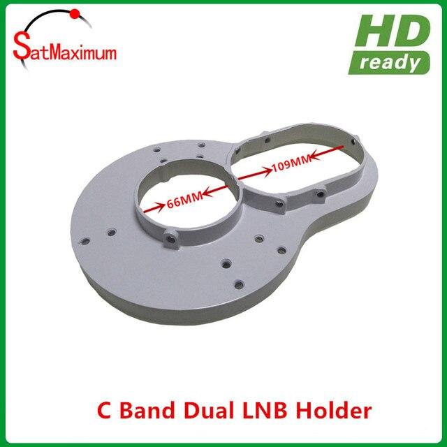 100% aluminium C Band Dual LNB holder can install 2pcs C band LNBF