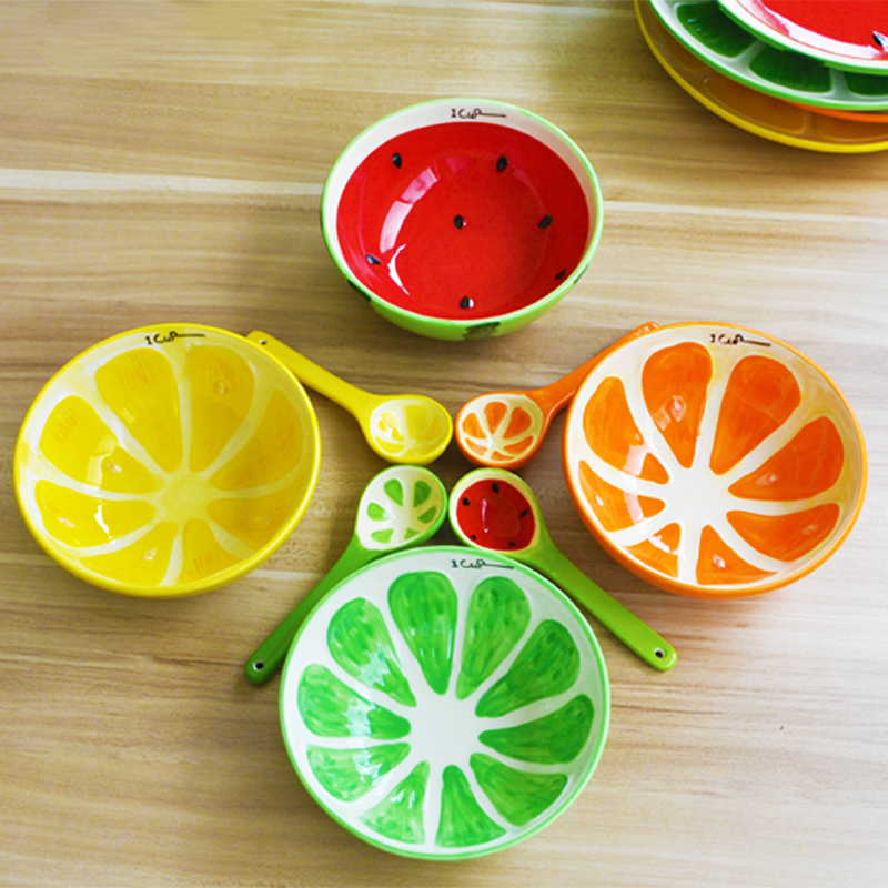 Creative Hand Painting Colorful Fruits Design Japenese Glaze Ceramic Porcelain Dinnerware Watermelon Bowl and Dishes 4pcs Set-in Dinnerware Sets from Home ...  sc 1 st  AliExpress.com & Creative Hand Painting Colorful Fruits Design Japenese Glaze Ceramic ...