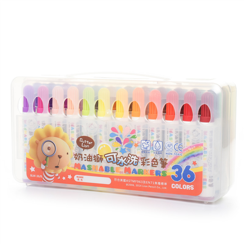 Simbalion 36 washable watercolor pen 24 color painting graffiti pen stationery set children safe student children washable markers drawing painting watercolor pen gram pen hand painted graffiti kids gifts