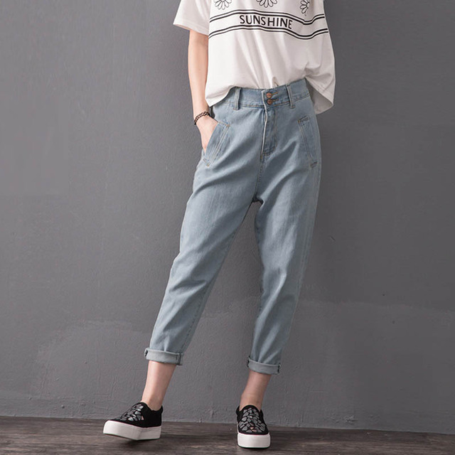 0cedaf55ee 2016 New Style Women High Waist Jeans Trousers Pockets Casual Loose Girls  Denim Jeans Plus Size