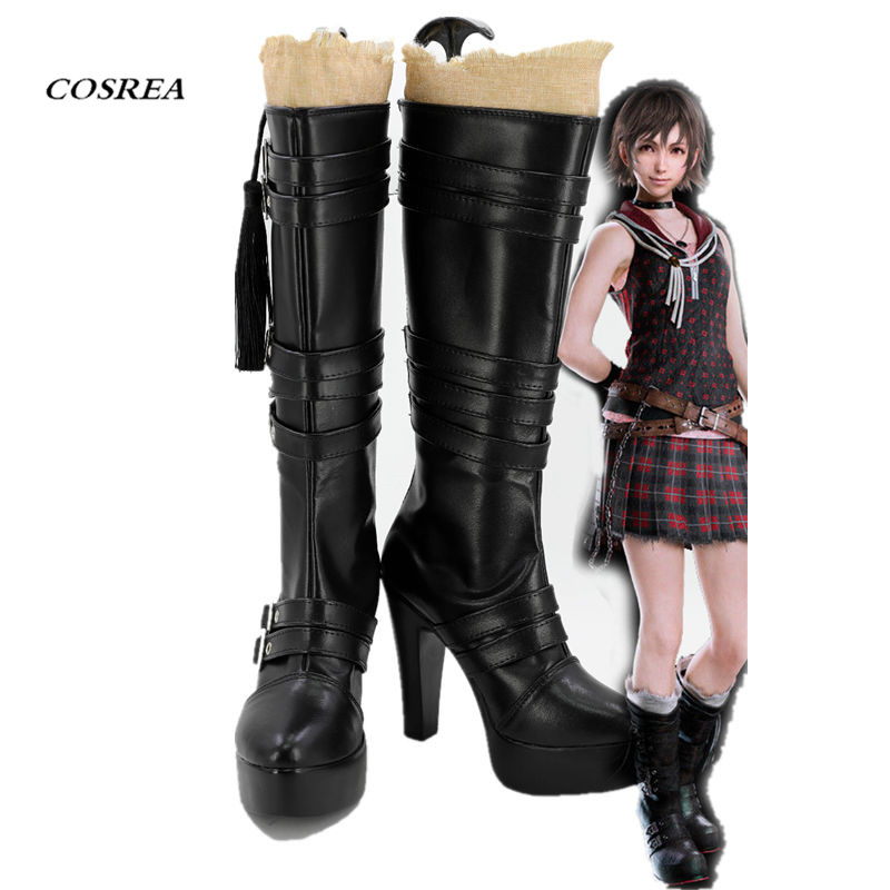 COSREA Hot Game Final Fantasy XV Cosplay Iris Amicitia Boots Black Long High-heeled Shoes Halloween Party For Adult Woman
