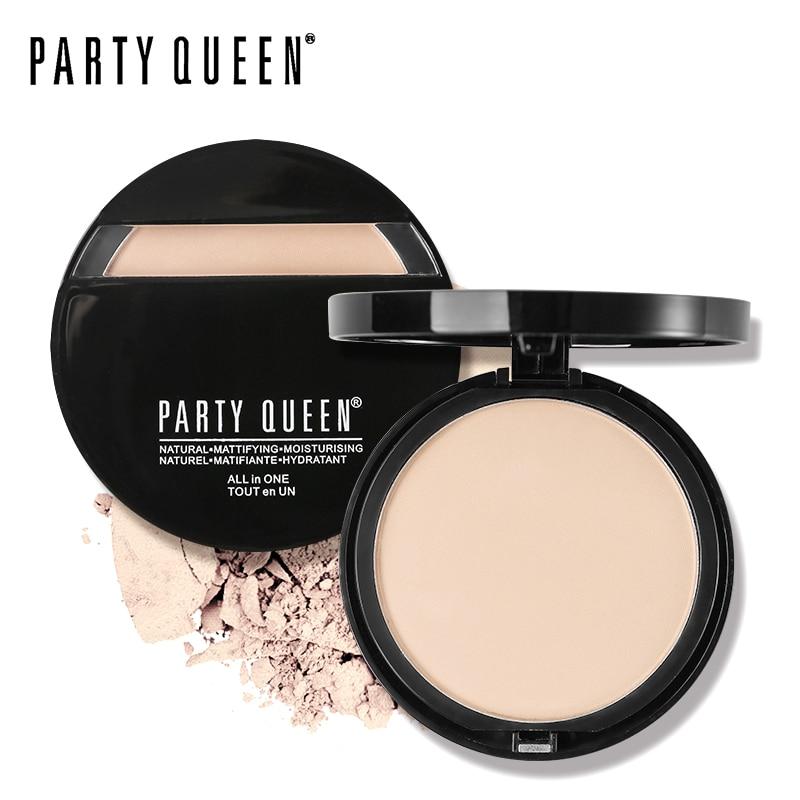 Party Queen 3Color Radiance gluda matēta sejas presēta pulvera minerāleļļas kontrole Fix Compact aplauzums Natural Comfort Silky Finish