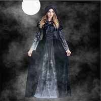 Halloween Adult Witch Devil Costume Cosplay Terrorist Maxi Dress Vampire Stage Party Dress Lady Girl cos
