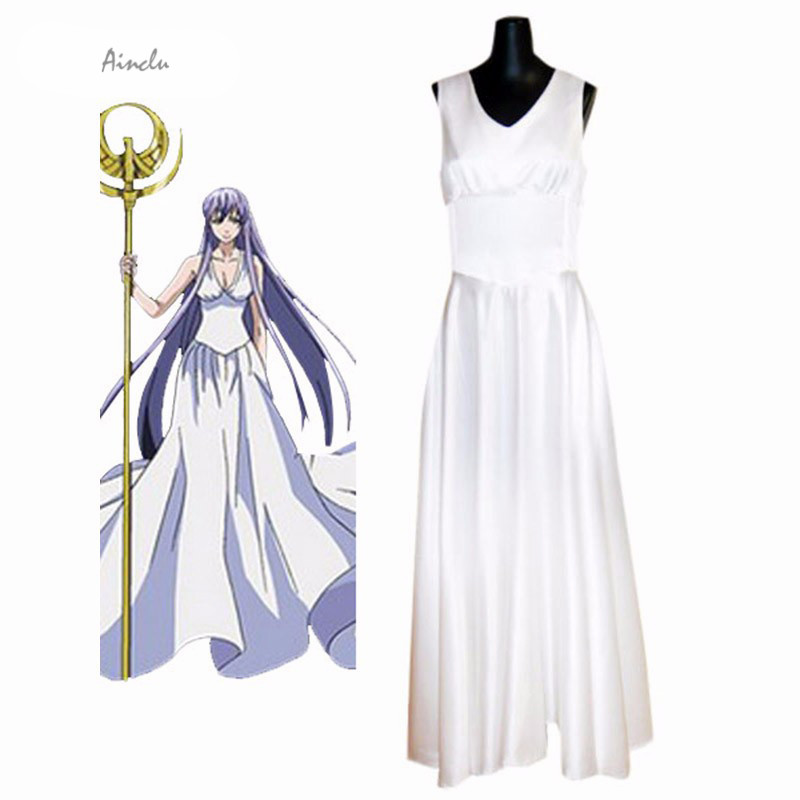 Ainclu Customize New Saint Seiya The Lost Canvas - Myth of Hades Athena Anime Woman Dress Adult Kid Cosplay Costume