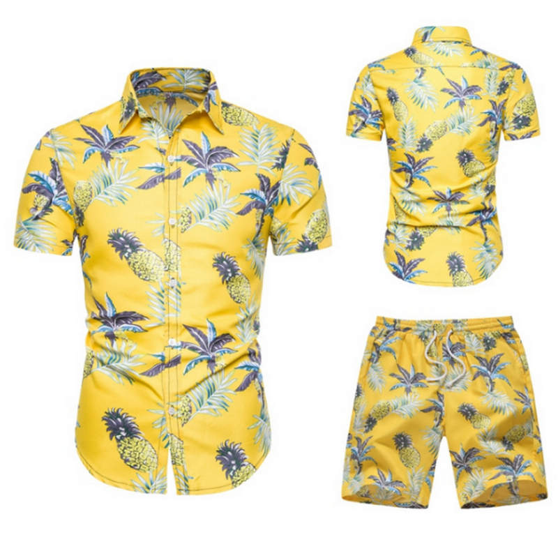2019 Summer Fashion Floral Print Shirts Men+Shorts Set Men Short Sleeve Shirts Casual Men Clothing Sets Tracksuit Plus Size
