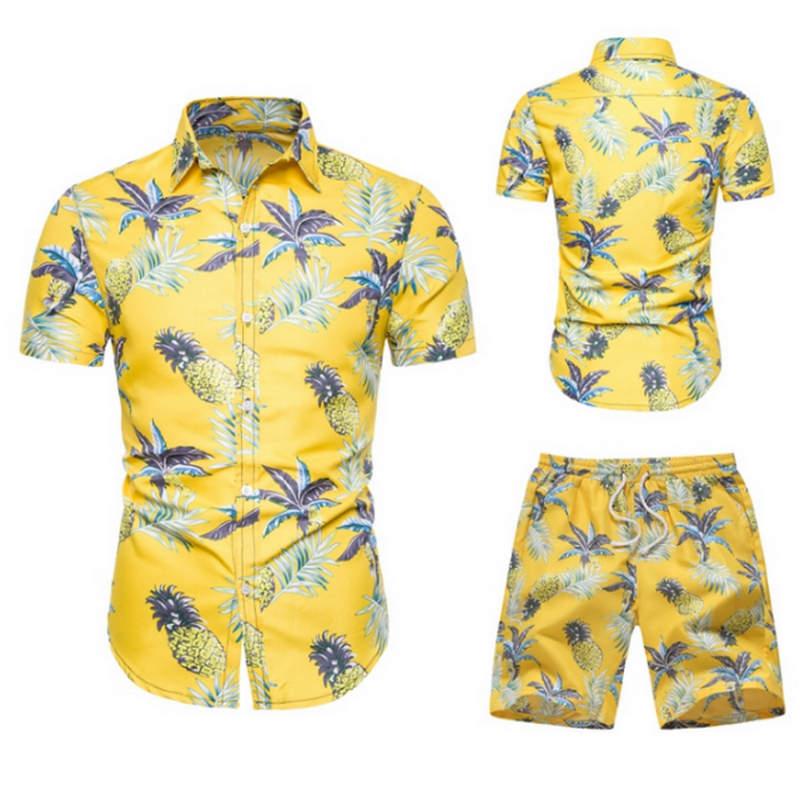 2019 Summer Fashion Floral Print Shirts Men+Shorts Set Men Short Sleeve Shirts Casual Men Clothing Sets Tracksuit Plus Size
