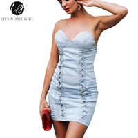 Lily Rosie Girl Off Shoulder Lace Up Blue Women Mini Denim Dresses 2018 Summer Party Beach