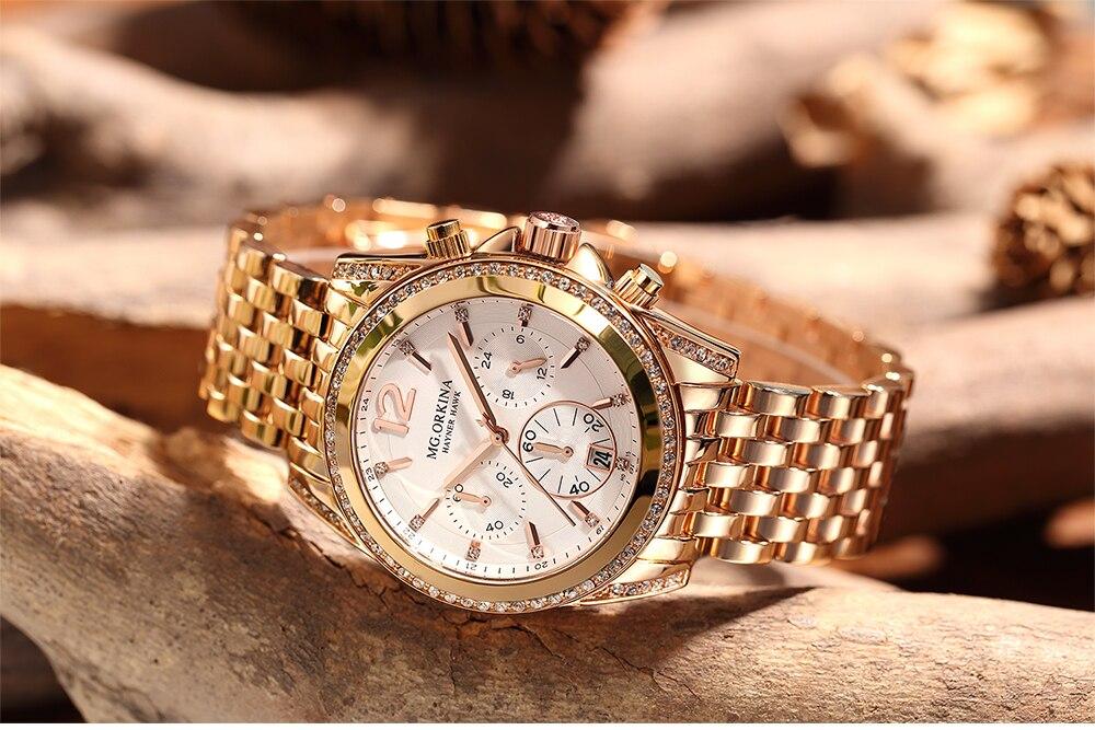 Image 4 - ORKINA Quartz Male Clock Luxury Crystal Wrist Watch Men Rose Gold  Stainless Steel 3ATM Water Resistant Herren ArmbanduhrQuartz Watches