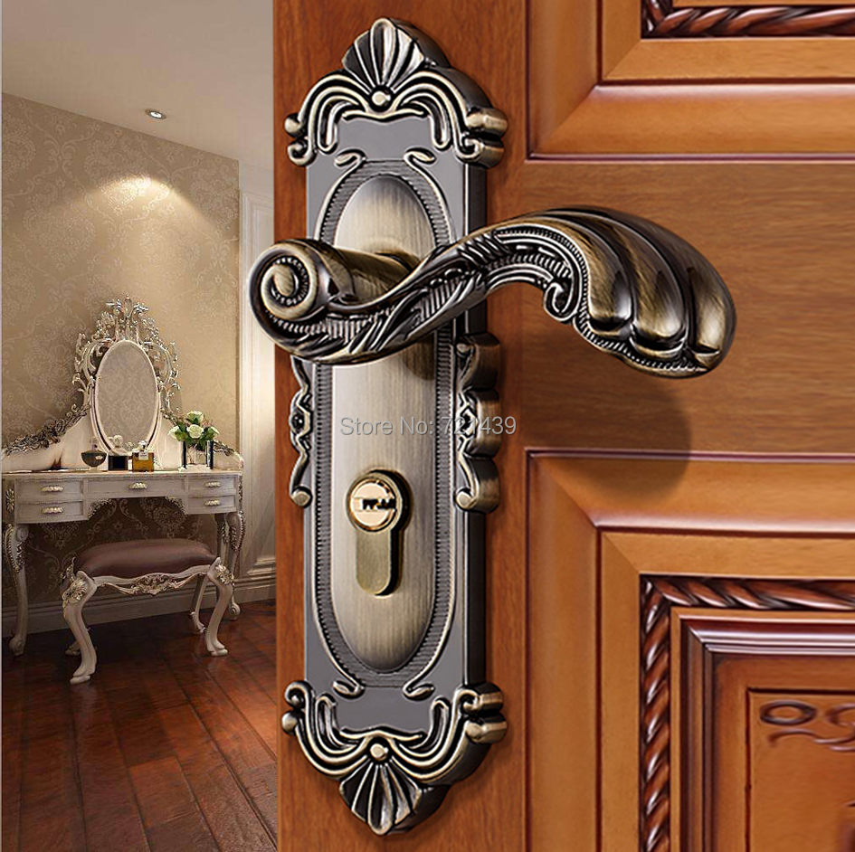 European Vintage Indoor Door Lock Antique Bronze Zinc Alloy Double Latch Carving Escutcheon Handle Wooden Door Bedroom