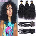 8a Mongolian Kinky Curly Hair With Closure Kinky Curly Virgin Hair with Closure Afro Kinky Curly Hair 3 Bundles with 1pc Closure