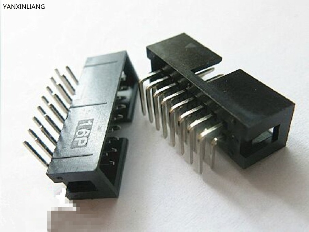 20PCS Pitch 2.54mm 2x8Pin DC3 16 Pin Right Angle Male Shrouded PCB IDC Socket Box Header