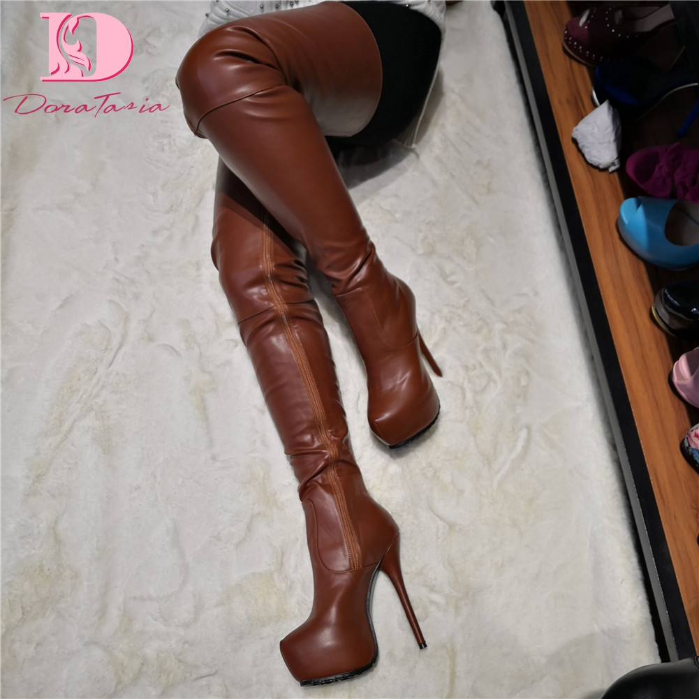 DoraTasia Brand Design Big Size 35-47 Quality Sexy Women Shoes Woman Party Brown Thin High Heeled Over The Knee Boots Long BootsDoraTasia Brand Design Big Size 35-47 Quality Sexy Women Shoes Woman Party Brown Thin High Heeled Over The Knee Boots Long Boots