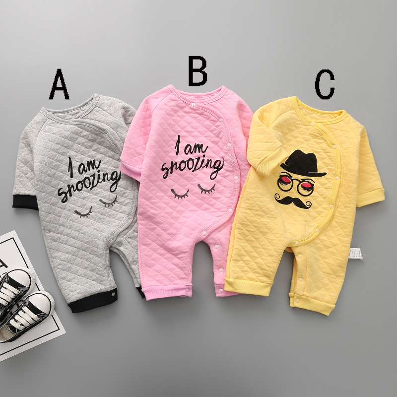 2017 New autumn style baby cotton rompers girls boys thick casual clothes fashion cute infant printed letter jumpers 17S907