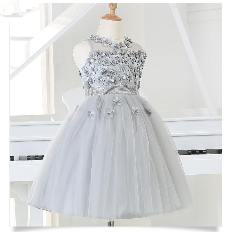 2015 silver tulle princess girl party dresses bead for Dresses for wedding for kids