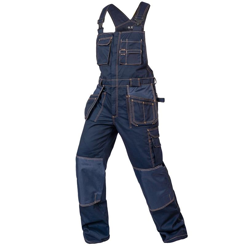 imágenes para Peto hombres monos de trabajo multi-funcional bolsillos correa monos pantalones resistencia al desgaste uniformes de trabajo técnico