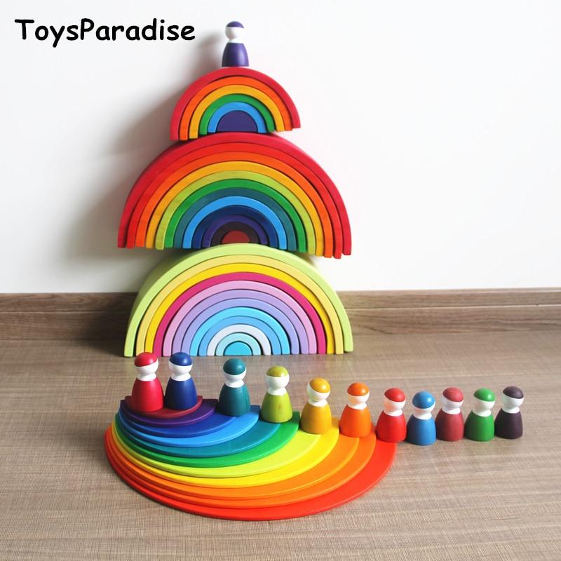 Baby Toys 6pcs Balls Rainbow Blocks 12pcs Dolls 11pcs Semicircle Building Blocks Wooden Toys For Kids Educational Birthday Gift
