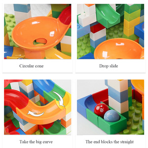 Image 2 - 88 352 PCS Blocks Marble Race Run Maze Ball Track Building Blocks Plastic Funnel Slide Assemble Bricks Compatible For kids Gift