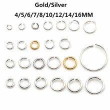Цвета: золотистый, серебристый Ссылка Loop 3 4 5 6 7 8 10 12 14 16 мм Открыть Перейти Кольца для DIY ювелирное Цепочки и ожерелья браслет выводы разъем