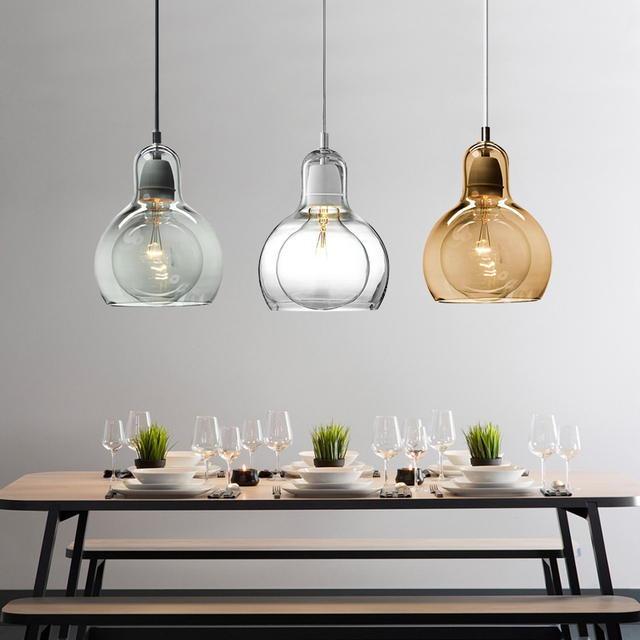 Modern Globe Glass Pendant Light For Kitchen Big Bulb Lamp