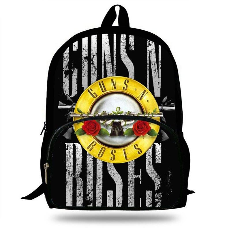 Guns N Roses Print Kids Backpack School Bag For Teenage Boys/Girls Shoulder Bags Children Casual Style Backpack